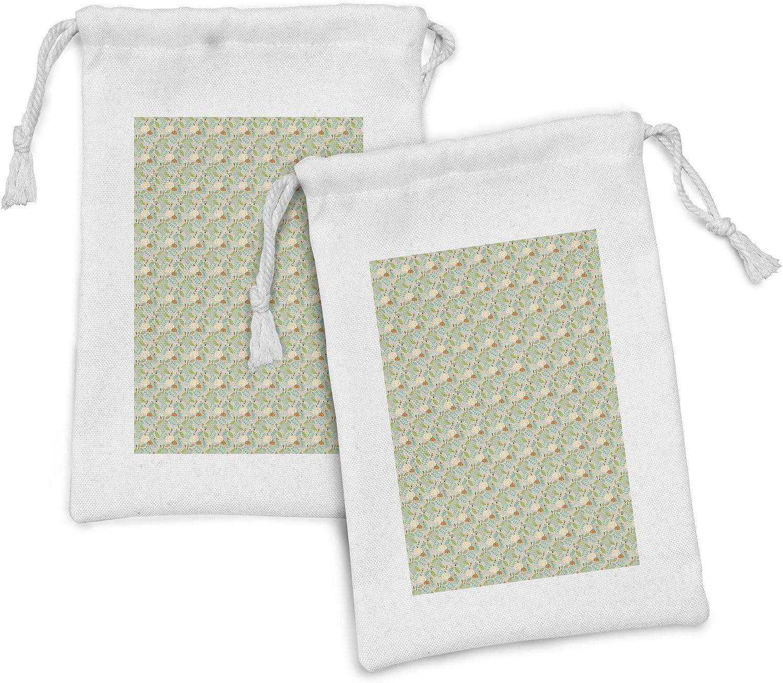 Ambesonne Botanical Fabric Pouch Set of Hand-drawn Seasonal Wrap Introduction 2 Cartoon Au Soldering
