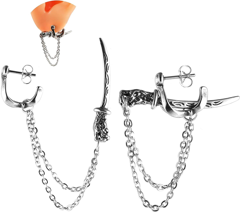 HZMAN Stainless Steel Sword Medieval Chain Stud Earrings Unisex Punk Style Mens Womens Piercing