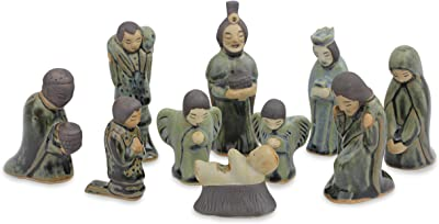"NOVICA 218128"" Iridescent Holy Birth 10 Piece Celadon Ceramic Nativity Scene Figurine"
