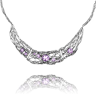 Paz Creations 925 Sterling Silver Amethyst Statement Necklace