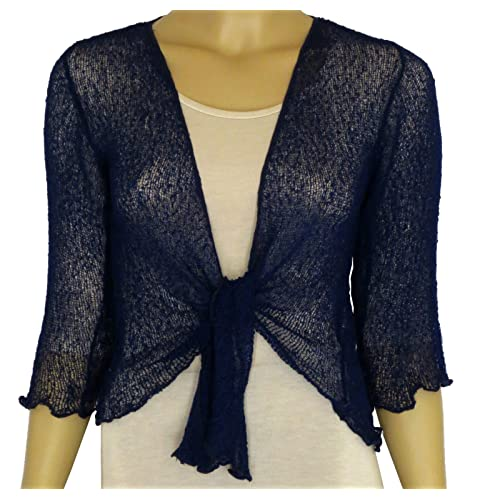 LADIES PLAIN KNITTED CROPPED TIE UP BOLERO SHRUG TOP - MASSIVE RANGE OF  COLOURS FIT ALL e45851e55
