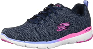 Skechers Flex Appeal 3.0 High Tides Gradient Midsole Stripe Side-Logo Lace-Up Training Sneakers for Women