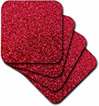 3dRose CST_112927_1 Red Faux Glitter-Photo of Glittery Texture-Glam Matte Sparkly Bling-Glam Bold Stylish Girly-Soft Coasters, Set of 4