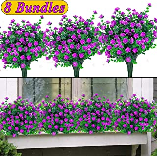 Artificial Flowers Outdoor UV Resistant Plants, 8 Bundles Faux Plastic Boxwood Greenery Shrubs Plants Artificial Fake Flowers Indoor Outside Hanging Planter Home Office Wedding Garden Decor - Red
