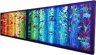 Arco iris y Violeta abstracto A575 - díptico colorido empaste arte, pinturas abstractas originales del artista Ksavera