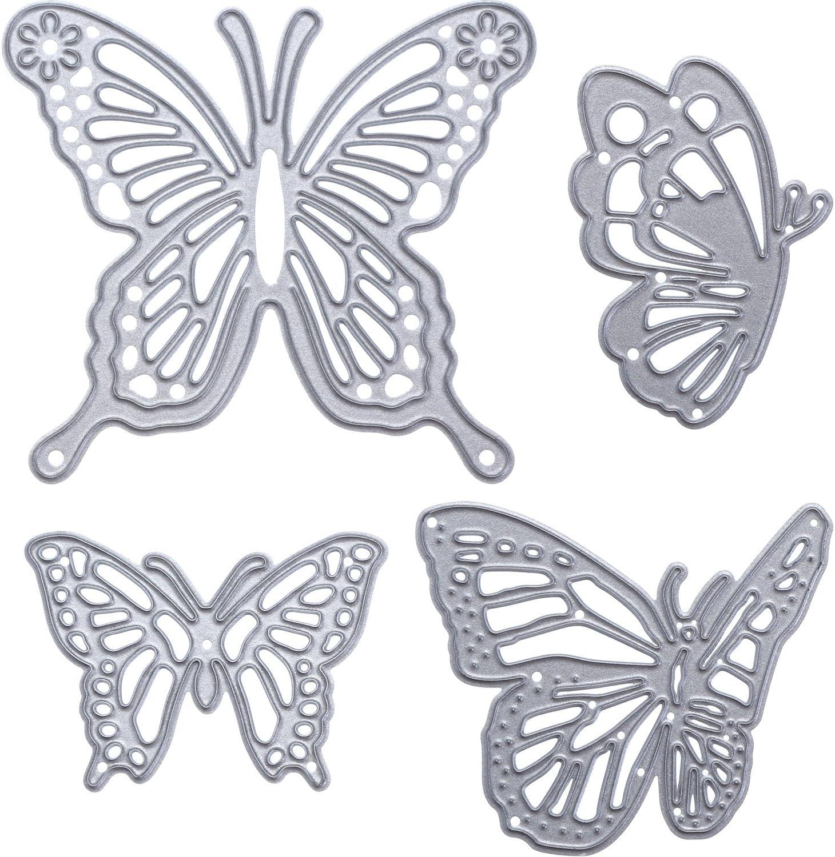 Gejoy 4 Pieces Houston Mall Butterfly Department store Set Cutting Dies Em Die Metal