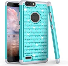 TILL for ZTE Blade Z Max Case, TILL ZTE Zmax Pro 2/ZTE Sequoia Studded Rhinestone Crystal Bling Diamond Sparkly Luxury Shock Absorbing Hybrid Defender Rugged Glitter Case Cover for Girls [Turquoise]