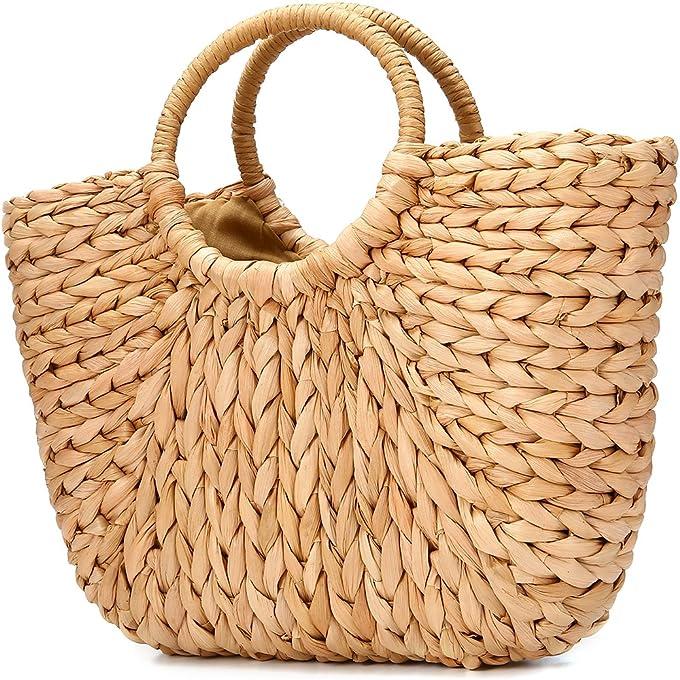 JOSEKO Borsa da spiaggia estiva, borsa a tracolla intrecciata in paglia, stile vacanziero, adatta per i viaggi in spiaggia e la vita quotidiana