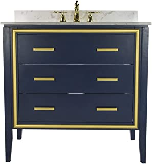 JSG Oceana Navy Skylar Vanity with White Undermount Top & Pearl Oasis Undermount Sink