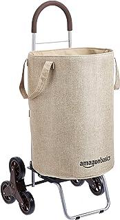 AmazonBasics – Cesto para colada con carrito con ruedas para subir escaleras mango de 965cm de altura beis