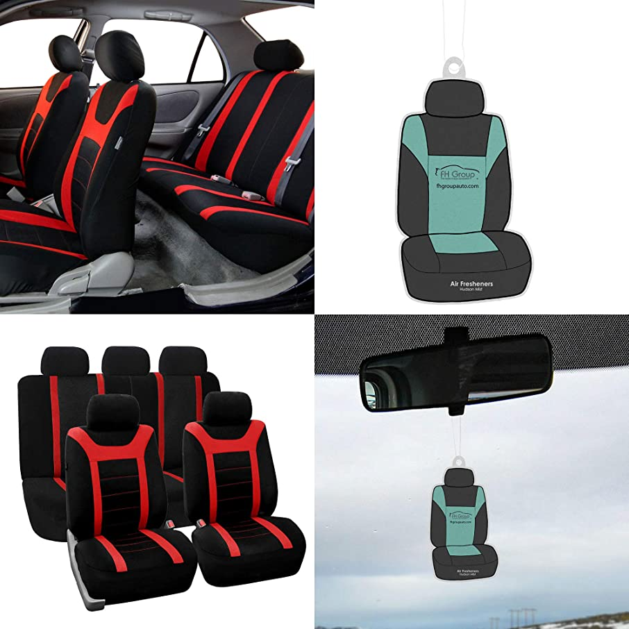 FH Group FB070115 Full Set Sports Fabric Car Seat Covers, Airbag Compatible & Split Bench, w. Free Air Freshener, Red/Black Color- Fit Most Car, Truck, SUV, or Van
