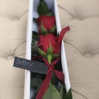 CAJA 2 ROSAS ROJAS NATURALES, montadas en caja rectangular de ...
