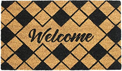 "Rugsmith Black Diamond Welcome Machine Tufted Doormat, 18"" x 30"", Natural"