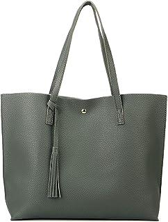 Women Tote Bags Top Handle Satchel Handbags PU Pebbled Leather Tassel Shoulder Purse