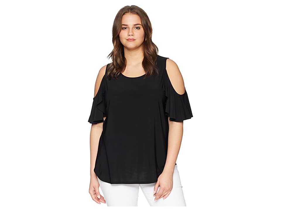 Karen Kane Plus Plus Size Cold Shoulder Ruffle Top (Black) Women