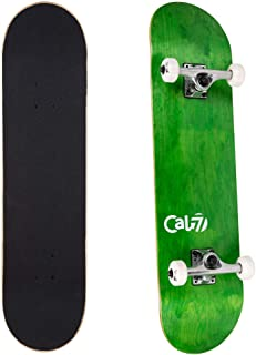 Cal 7 Complete Skateboard, Popsicle Double Kicktail Maple Deck, 7.5 x 31 inches, Skate Styles in Graphic Designs