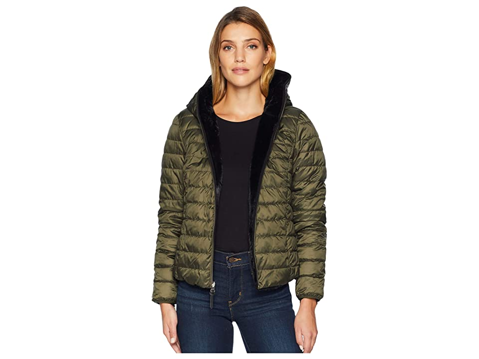 Marc New York by Andrew Marc Melrose Reversible To Fur Short Packable Puffer (Black/Forset) Women