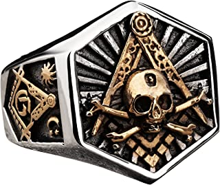 Masonic Ring for Men Hexagon Skull Stainless Steel Freemason Totem Jewelry Masons Band