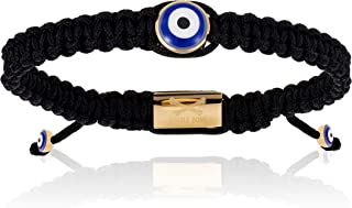 Double Bone Evil Eye Handmade Braided Bracelet with Yellow Gold Lucky Eye Unisex and Adjustable