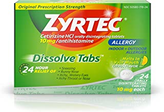 Zyrtec 24 Hour Allergy Dissolve Tablets with Cetirizine HCl Antihistamine, Citrus Flavored, 24 ct