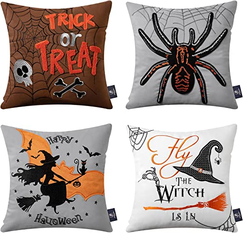 discount Phantoscope Set of 4 Happy Halloween 100% Cotton Embroidery Spider Throw high quality Pillow Case online sale Cushion Cover 18 x 18 inches 45 x 45 cm outlet sale