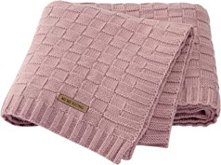 LAWKUL Cable Knit Blanket Crochet Safe Pink Baby Blanket Cellular Blanket Baby for Newborn Girl Size 40x30 Inches