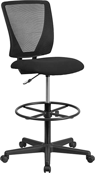 Flash Furniture Ergonomic Mid Back Mesh Drafting Chair With Black Fabric Seat And Adjustable Foot Ring