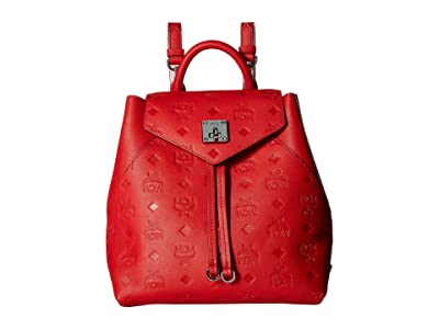MCM Essential Monogrammed Leather Backpack Small (Viva Red) Backpack Bags