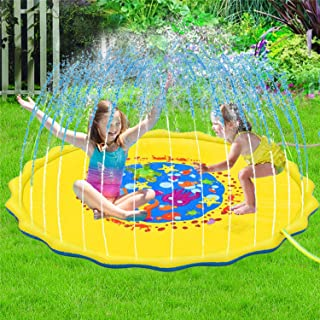 COMPATH Sprinkle & Splash Pad 68'' Water Toys Play Mat Outdoor Sprinkler Pad Party Water Inflatable Sprinkle Mat Swimming Pool Toys for Toddlers, Babies, Boys and Girls (Yellow)