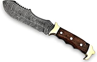 """11"""" Handmade Damascus Knife - Customizable Damascus Fixed Blade Knife With Leather Sheath - Skinning, Camping, Fishing And Hunting Accessories For Men"""