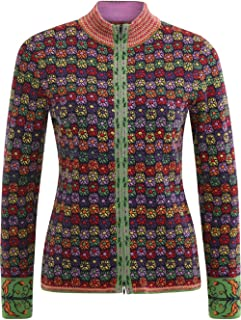 IVKO Geometric Floral Jacquard Jacket with Double Zipper in Marine Multicolored Knit Cotton Cardigan Sweater