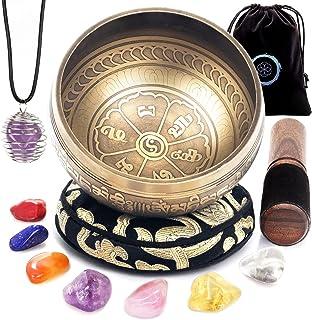ست کاسه آوازی تبتی - 7 سنگ کریستال چاکرا - برای مراقبه ، ذهن آگاهی ، یوگا ، بهبود معنوی و بدن و پاک سازی انرژی