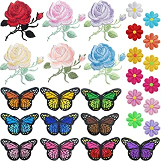 PGMJ 40pcs Embroidery Applique Patches Rose Flowers Butterfly Sunflowers Iron On Patches For Jackets, Jeans, Bags, Clothing, Arts Crafts DIY Decoration