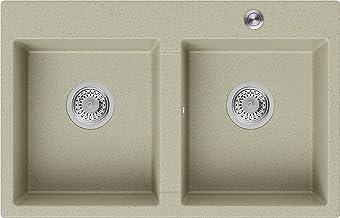 Granieten Gootsteen Beige + Pop-Up Sifon + Antibacterieel Oppervlak, Voor Keukenkasten vanaf 80 cm, Grootte 78 x 50 cm, Go...