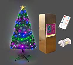 SHATCHI 3ft/90cm Galactic LEDs Pre-Lit Fibre Optic Christmas Tree Remote Controlled 8 Functions Timer Various Multicolour ...