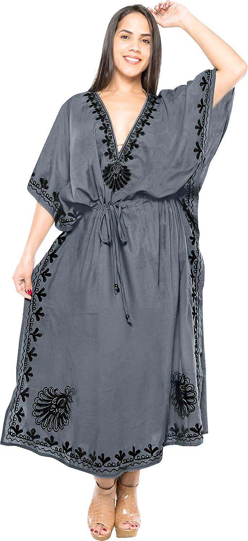 LA LEELA Women's Maxi Evening Caftan Elegant Dress Beach Cover Up Embroidered