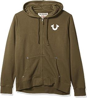 True Religion Men's Classic Logo Long Sleeve Zip Up Hoodie Hooded Sweatshirt