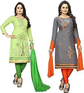 Vetrokart Women Cotton Un-Stitched Dress Material