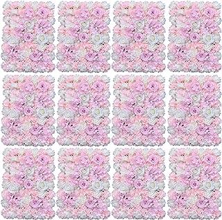 Kaibrite Lot de 12 panneaux muraux de roses artificielles, fleurs artificielles, décoration murale, 40 x 60 cm