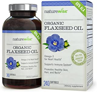 NatureWise Organic Flaxseed Oil Max 720mg ALA | Highest Potency Flax Oil Omega 3 for Cardiovascular, Brain, Immune Support & Healthy Hair, Skin, Nails | Gluten Free Non-GMO [4 Month - 240 Softgels]