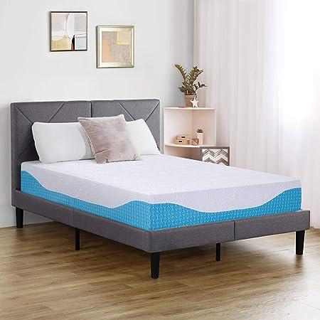 PrimaSleep 12 Inch Multi-Layered I-Gel Infused Memory Foam Mattress   White/Blue   King