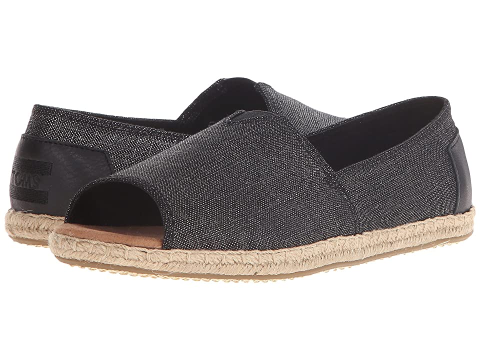 TOMS Alpargata Open Toe (Black Metallic Linen) Women