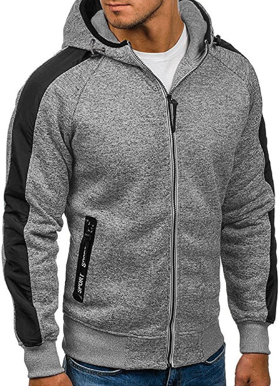 Aayomet Hoodies Sweatshirts for Men Solid Tops Patchwork Long Sleeve Athletic Hooded Pullover Blouses Cardigan