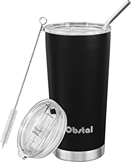 Obstal Stainless Steel Insulated Tumbler - Double Wall Vacuum Travel Mug for Coffee with Straw, Slider Lid, Cleaning Brush (20 oz, Black)
