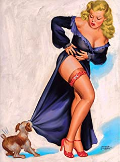 A SLICE IN TIME 1940s Pin-Up Girl Tug-O-War with Puppy Dog Picture Poster Pin Up Print Art