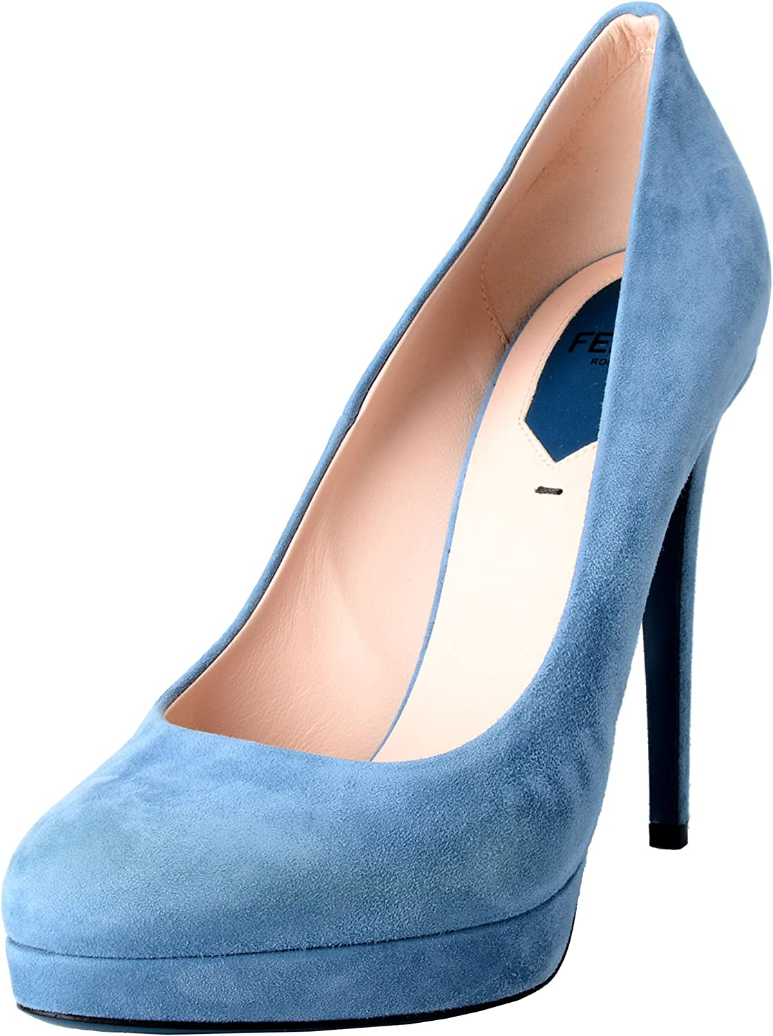 Fendi Women's Suede bluee Platform High Heels Pumps shoes