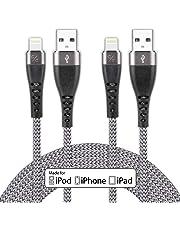 iPhone 充電ケーブル 2m 【iPhone XS / XS Max / XR 対応 / Apple MFi認証】 ライトニングケーブル 純正 apple認証 急速充電&高速データー同期 ナイロン編み 高耐久 コンパクト端子設計 iPhone XS/XS Max/XR/X/8/8Plus/7/7 Plus/6/6 Plus/6s/6s Plus/5/SE/5s,iPad iPad Air 2/Air/mini 4/mini 3/mini 2,iPod nano/touch(第5、6世代)対応 【2m×2本 グレー】