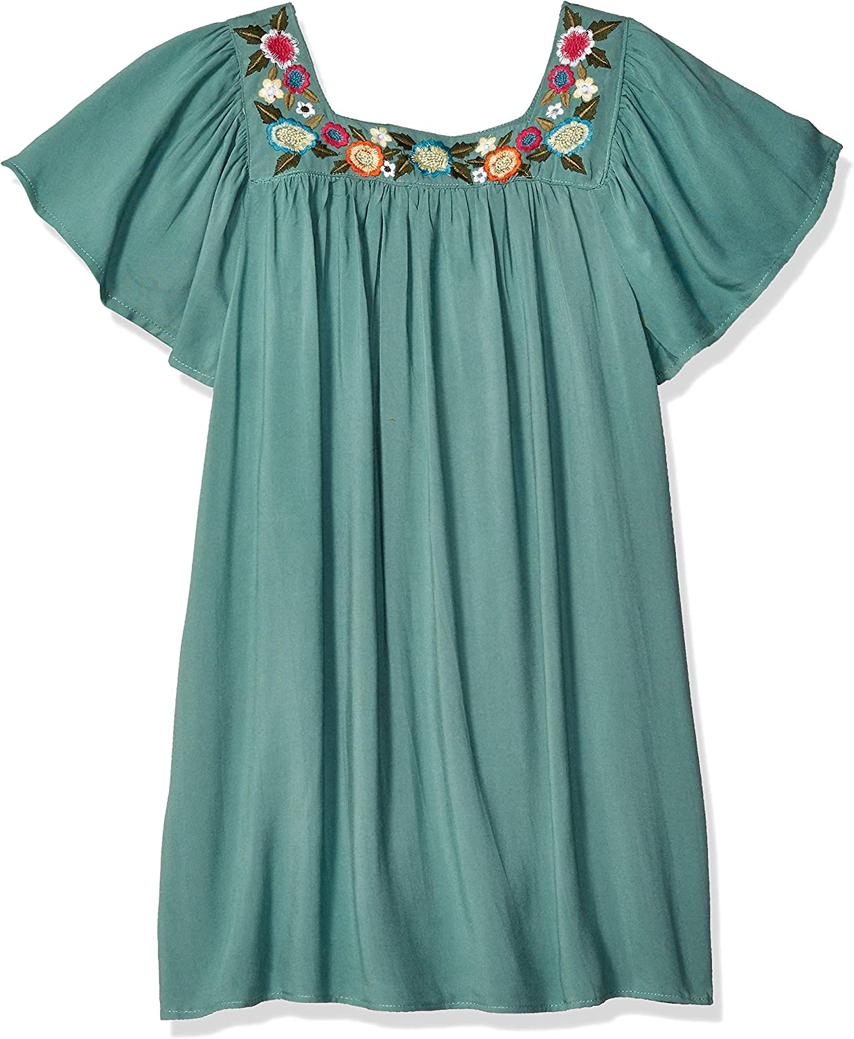 Angie Little Big Girls Embroidered Square Neck Dress