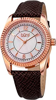 Burgi Women's BUR167GY Swarovski Crystal Mother of Pearl Coin Edged Leather Strap Watch