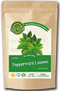 Eat Well Premium Foods - Crushed Mint Leaves 8 oz Reseable Bag, Bulk, Cut & Sifted, Culinary Dried Mint Leaf ,Crushed Pepp...